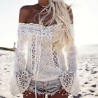 Boho Women Off Shoulder Casual Solid Shirts Lace Top Tees Blusas Blouse Tops NEW