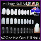600Pc Mid Oval Length Full Cover Nails Round Tips Fake False Gel Art Acrylic