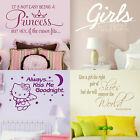 Girl Quote Wall Stickers Home Decor Childrens Room Art Girls Bedroom Vinyl Decal
