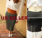 US SHIP Women Lace Corset Waistband Wide Elastic Stretch Lace Up Wais