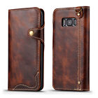 For Samsung Galaxy S8 S9 Plus Note 8 Genuine Leather Flip Card Wallet Case Cover
