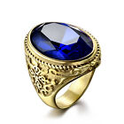 Classic Natural Sapphire Rings Flower Design Size 8-12 Stainless Steel Unique