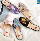 Womens Floral Embroidery Slipper Sandals Shoes Leather Flats Flip-flops US3-11