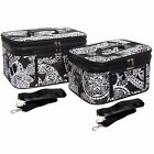 Women's Paisley Print Make-up Travel Cosmetic Train Cases - 2 Piece Set!