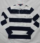 NWT Polo Ralph Lauren Rugby Polo Shirt Striped White Navy Pony Logo