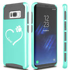 For Samsung S5 S6 S7 Edge S8 + Dual Shockproof Hard Case Love Heart Paw Animals