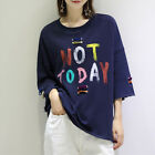 New Loose Not Today Character T Shirt 3/4 Sleeve Blouse Summer Top Plus Size