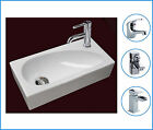 Right Hand Compact Small Square Wall Hung Cloakroom Ceramic Basin Sink 400mm tap
