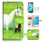 Samsung ( J3 2016 ) Wallet Case Cover AJ20202 White Horse