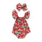 Внешний вид - 2017 Cute Newborn Baby Girls Watermelon Romper Bodysuit+Headband Clothes Sunsuit