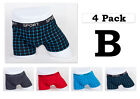4 pack Mens Boxer Briefs Cotton Underwear Stretch Trunk Short Bulge Lot XS S M