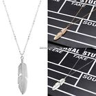 Women Jewelry Feather Pendant Chain Necklace Long Sweater Chain Statement NC8901