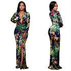 Women Long Sleeve Print Bandage Bodycon Dress Club Evening Party Long Maxi Dress