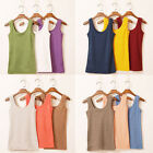 Women 100%Cotton Sleeveless Tank Tops Camisole T-Shirt Summer Vest Top Blouse