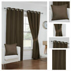 Ready Made Brown Curtains Waffle Effect Design Ring Top Eyelet Lined Sizes Pair