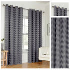 Grey Zig Zag Style Eyelet Ring Top Ready Made Lined Curtain Pairs Sizes New