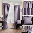 Ready Made Mauve Satin Textured Soft Curtain Tape Top Pencil Pleat Living Size