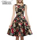 Classic O Neck Sleeveless Summer Knee Length Bodycon Dress Fashion Printing