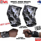 DAM HEAVY DUTY WEIGHTLIFTING KNEE WRIST WRAPS GREY CAMO BODY BUILDING GYM STRAPS