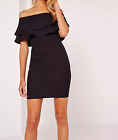 MISSGUIDED layered frill bandeau bodycon dress black (M13/6)