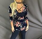 Floral Print Navy Criss Cross Caged Front & Back Feminine Stretch Tunic Top
