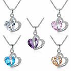 Womens Gold filled heart crystal rhinestone pendant Gift necklace