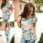 UK Womens Camouflage Flag Short Sleeve Ladies Casual T Shirt Tops Blouse Top