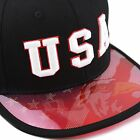 """USA"" 3D Embroidered Flat Anti UV Bill Snapback Cap"