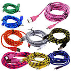 1/2/3M Braided Fabric Micro USB Data Sync Charger Cable Cord For Android Phones