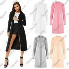 New Womens Long Line Long Sleeve Plain Collared Waistcoat Duster Coat Jacket Top