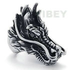 Men's Stainless Steel Chinese Dragon Head Ring Gothic Unique Animal Style Knight