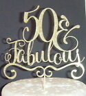 Plain or Glitter - 50 and Fabulous  - Birthday CARD Cake Topper fifty