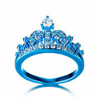 3 Color Gold Women's Girls Classic Royalty Queen Princess Crown CZ Ring Size6-10