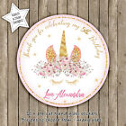 MAGICAL FLORAL GOLD UNICORN BIRTHDAY PARTY PERSONALISED ROUND GLOSS STICKERS x12