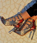 Zara Real Leather High Heel Lace Up Ankle Boots Shoes Sandals Coat New
