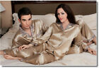 19MM Pure Silk Couple's Striped Print Pajamase Set for Women CMR6535