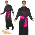 Adults Cardinal Costume Black Pink Bishop Priest Vicar Fancy Dress Outfit