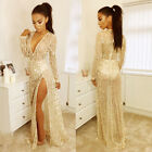 Sexy Women Deep V Neck Sequines Tassel Evening Party Cocktail Club Long Dress