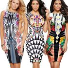 ladies bodycon summer pattern casual holidays midi Tropical Dress