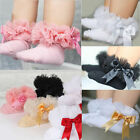 Baby Girls Kids Princess Bowknot Lace Ruffle Frilly Trim Cotton Ankle Socks NEW