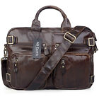 AB Earth  Vintage HANDMADE Leather Men's Briefcase Backpack Messenger Laptop Bag
