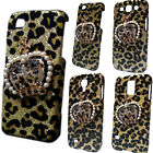 Bling Luxury Leopard Diamond Pearls Crown Back Hard Skin Case Cover for Phones