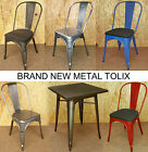 TOLIX METAL CHAIRS STEEL TARNISHED GALVANISED BLUE RED TABLE FRENCH BISTRO RETRO