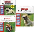 ONE DOSE WORMER - Beaphar Dog Tablets bp Round & Tape Worms Vet Strength Pet Tab