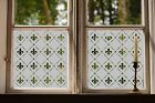 Etched Glass Window Film Frosted Victorian Style traditonal pattern fleur de lis
