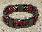 Men's Woman's Magnetic Hematite Bracelet Anklet Necklace 3 row RED RUBY CRYSTAL