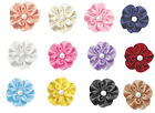 "NEW 22mm 7/8"" Petaled Flower w 1 Pearl Bead Satin Ribbon Eco Quality Craft Gift"