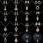 Women Crystal Pendant Chain Necklace Earrings Jewelry Sets Party Gift
