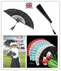 Top Keep Cool Lace Fabric Folding Hand Held Dance Fan Party Wedding Prom Gift UK
