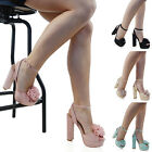 Womens High Heel Platform Sandals Ladies Block Ankle Straps Peep Toe Shoes Size